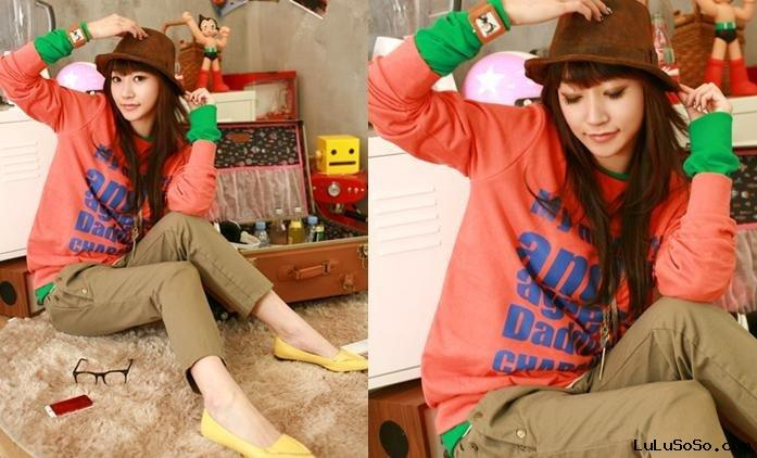 Fashion jacket,Fashion jean,Autumn Korea Version Printing Long Sleeves Cotton  Orange C897065