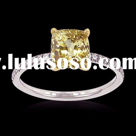 2.50 ct. yellow canary cushion cut diamonds ring gold