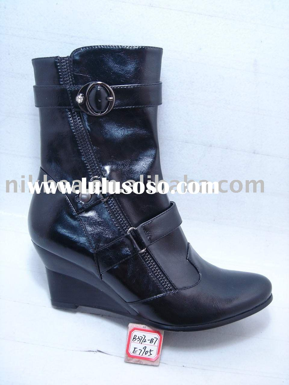 new design hot nice fashion comfort middle heel lady shoes and boots for wholesale