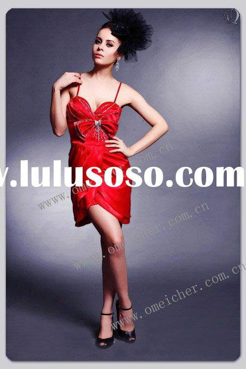 2010 new style red spaghetti strap beads flower short prom dresses