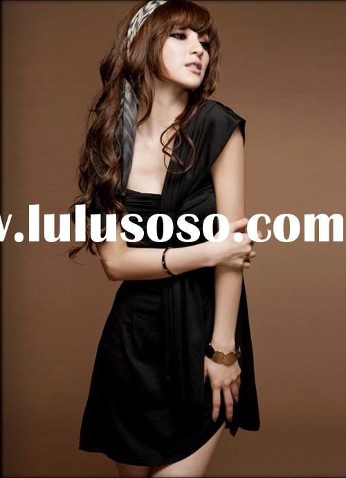2011 new short black evening dress party dress linen one shoulder dress on line