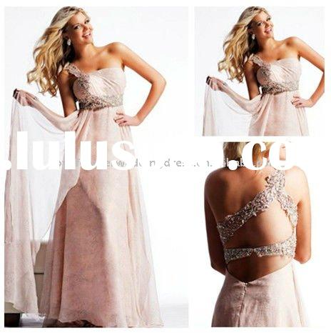 One-shoulder Beading Modern Modest Prom Dresses Cheap