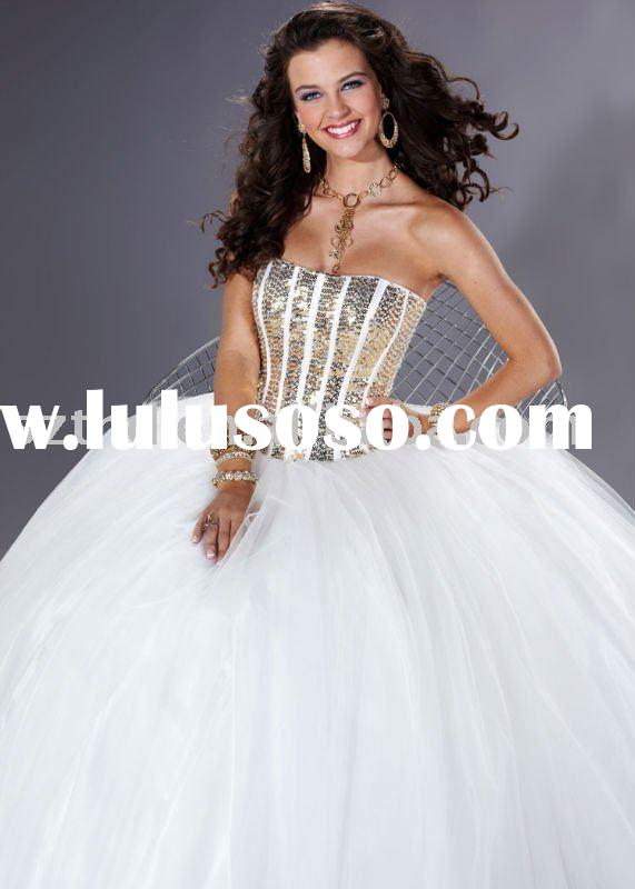 Strapless Sequined Ball Gown Prom Dresses 2011
