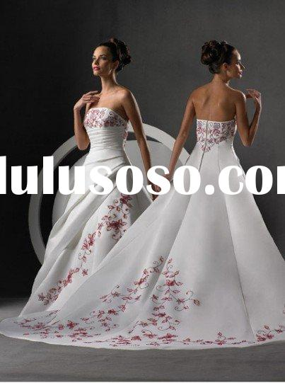 Inspired  A-line strapless red color embroidered vintage wedding dresses for bridal 2011