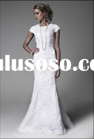 The lace cap sleeves wedding dress c2107