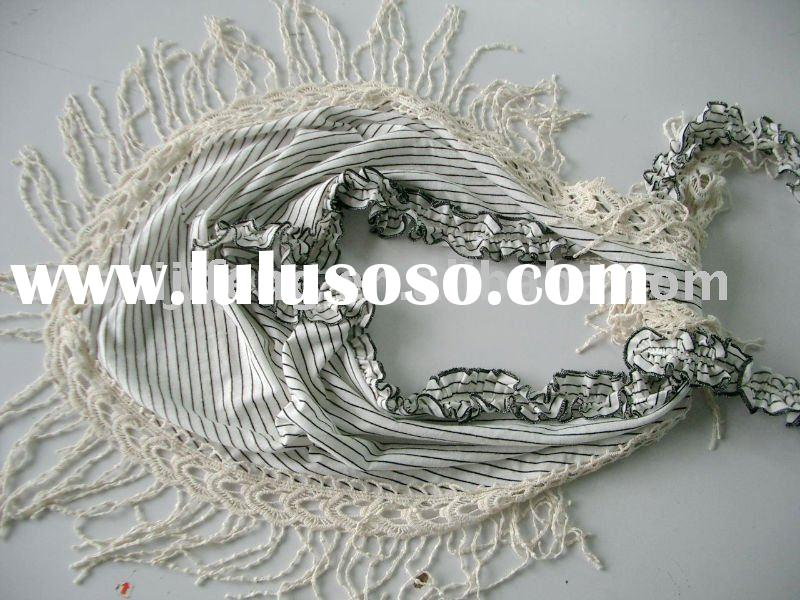 2010 fashion Ladies` stripe cotton fabric lace woven scarves shawl