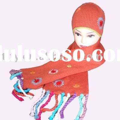 Acrylic scarf hat set, ladies knitted scarf, girls scarf, hat set, winter set --  FY0162