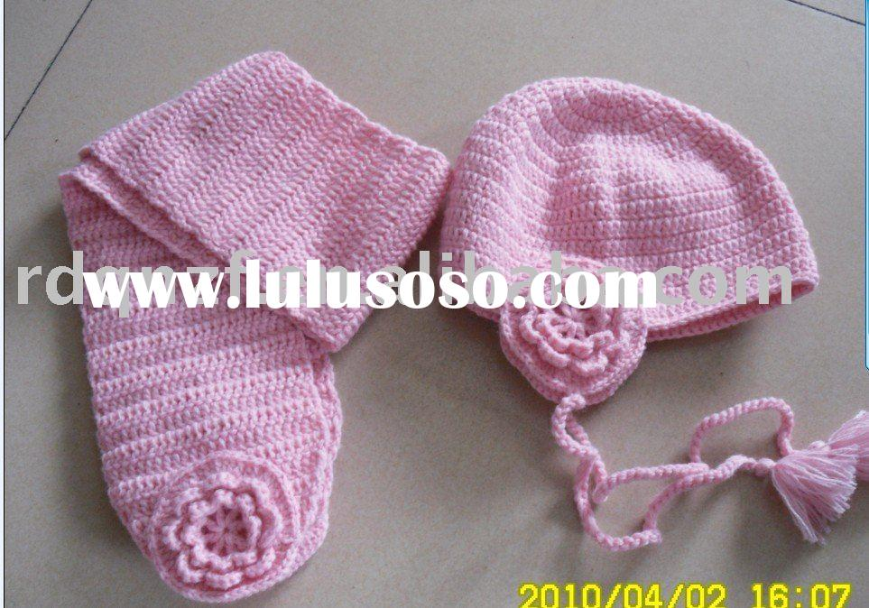 Cute pink crochet earfalp hat and scarf for babies and children Crochet Hats And Scarves For Kids