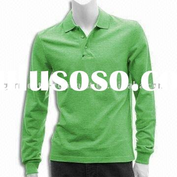 100% cotton long sleeve polo shirt for men