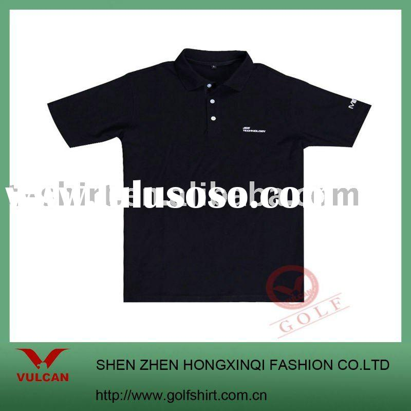 2011 fashion quiet black short sleeve  polo t shirt with lacoste material accept custom made design