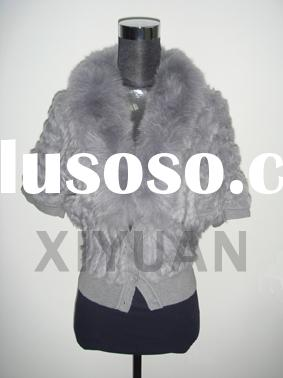 Knitted rabbit fur jacket with fox collar