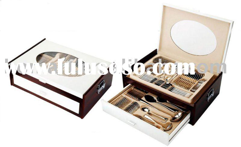 hot sell 84pcs stainless steel cutlery set with wooden case