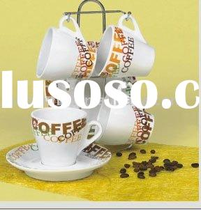 Porcelain coffee cup and saucer with wire stand ( ceramic coffee/tea set )