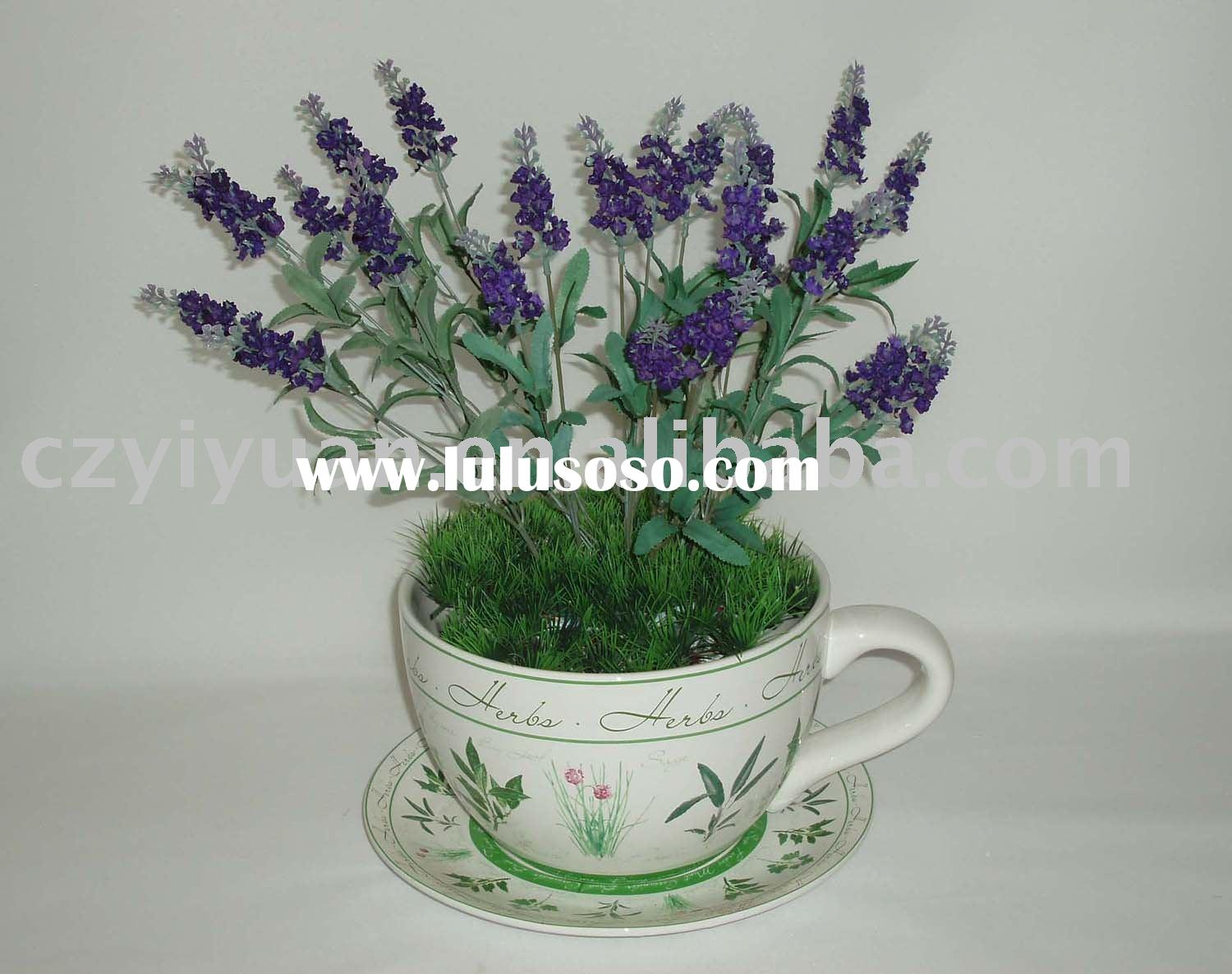 dolomite cup and saucer flower planter