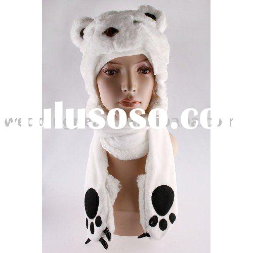 LOVELY PARTY CARTOON PLUSH ANIMAL WINTER HAT WITH SCARF GLOVES MITTENS LH131