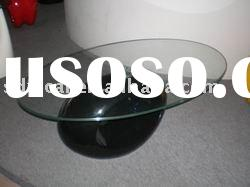 oval glass coffee table/glass dining table/contemporary coffee tables/black coffee table/glass top c