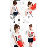 Fashion dress Casual wear Latest Korea/Japan new cloth Popular Red Heart Design White Polyester-Cott