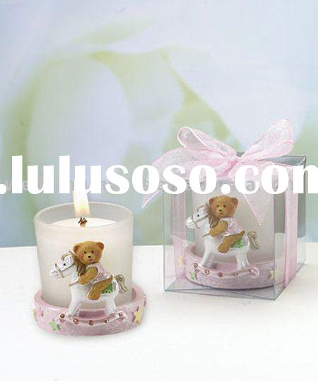 Pink Teddy Bear Candleholders Baby Shower Favors