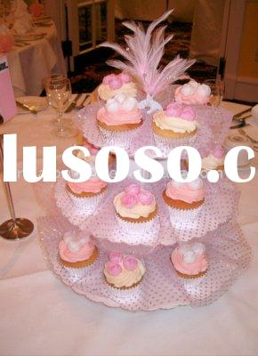 acrylic pink cupcake stands with feather
