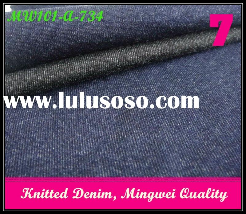 Fashion, Indigo Stretch Baby Terry, Knitted Cotton Fabric for Jeans