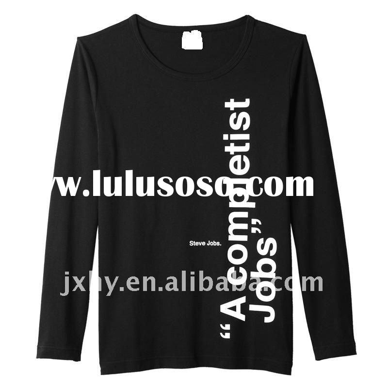 2011 latst fashion printed long sleeve combed cotton men t-shirt