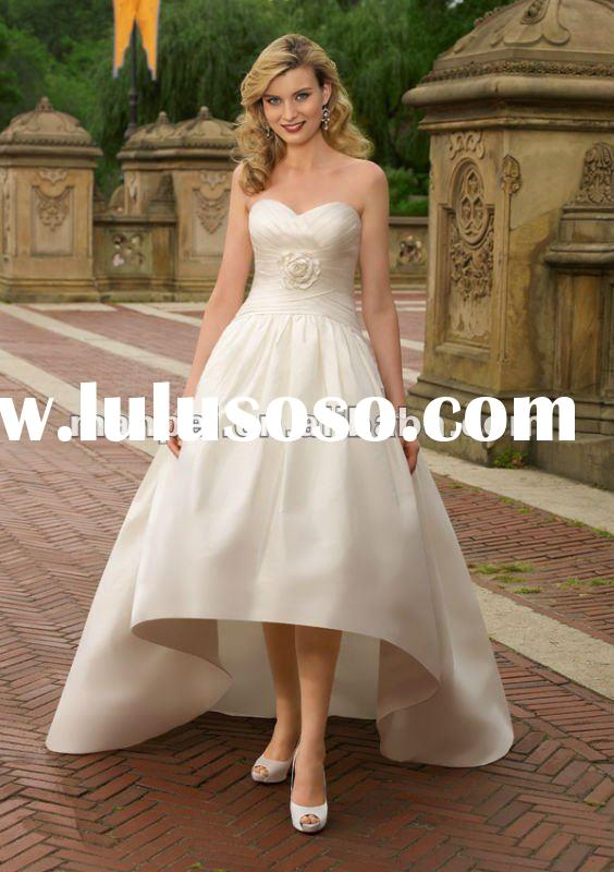 (MF-66)Custom Made Sweetheart Neckline Asymmertrical Front Short And Long Back Wedding Dress