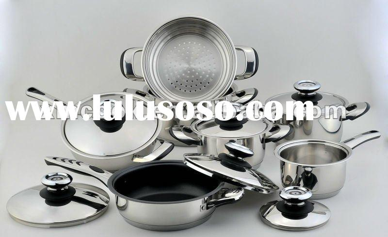 13 piece/set stainless steel cookware with thermo control knobs