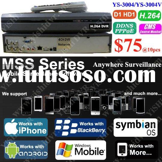 4CH H.264 Andriod 3GS view Network DVR (USB Mouse Control with GUI Display), D1/HD1 CMS 3G MSS