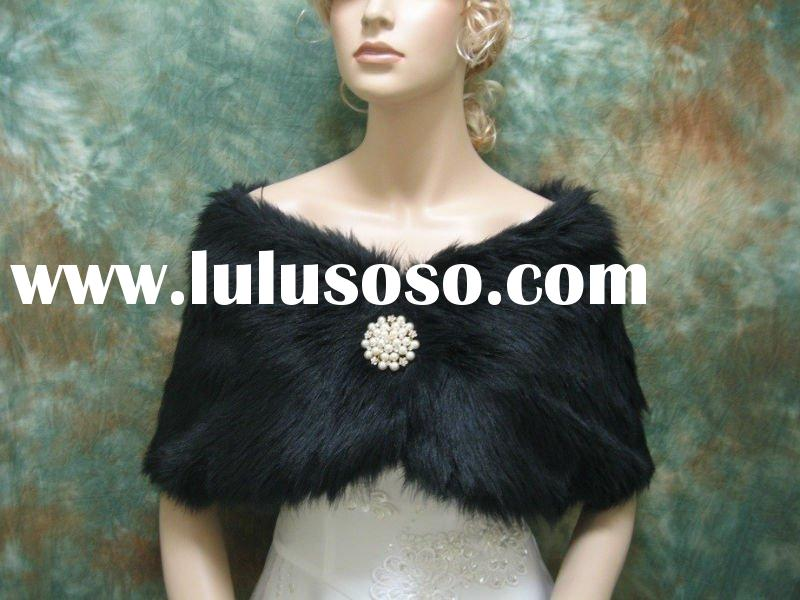 Black faux fur bridal wrap shawl bolero wedding jacket DC-A003-Black regular / plus size