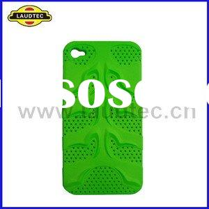 Green Fish Bones Rubberized Hybrid Mesh Hard Case Back Cover for iPhone 4 4G