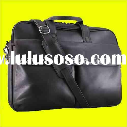 NEW GENUINE COWHIDE LEATHER BUSINESS SLIM LAPTOP NOTEBOOK BRIEFCASE BAG
