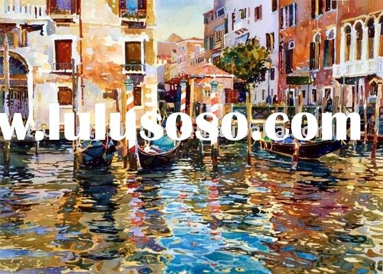 Water city landscape art painting