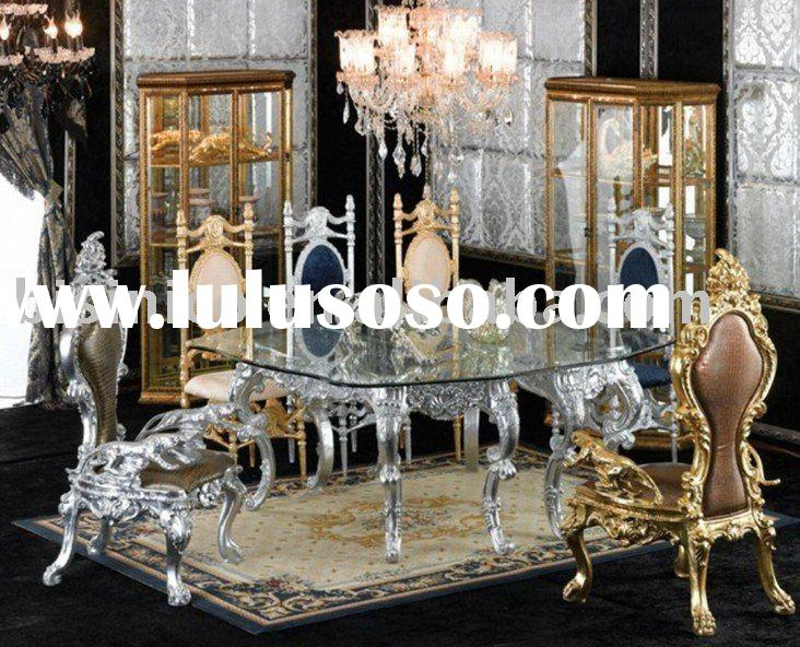 New antique hand carving luxury dining room furniture set,glass top round table,king chair,silver or
