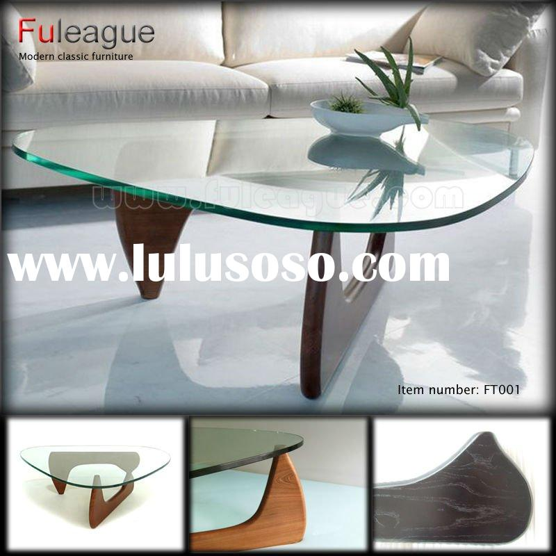 Triangle Coffee Table by Isamu Noguchi Tempered Glass Top Wood Base FT001