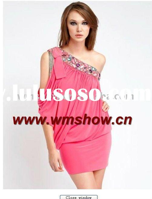 2011 Latest Modern One-Shoulder Ruffle Hot Pink Party Dresses For Juniors