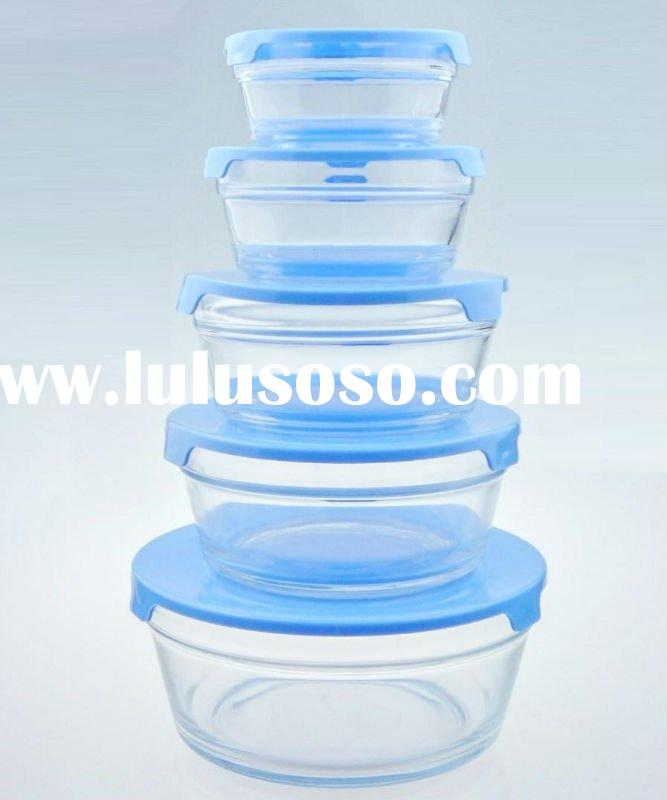 Clear glass salad bowl set with plastic lid/B10-5