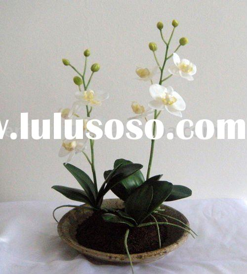 Decoration Artificial Phalaenopsis Orchid Flower In Pot