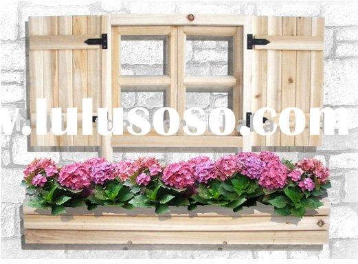 Outdoor Garden decorative window frame with flower pot holder , flower pot holder , planter .