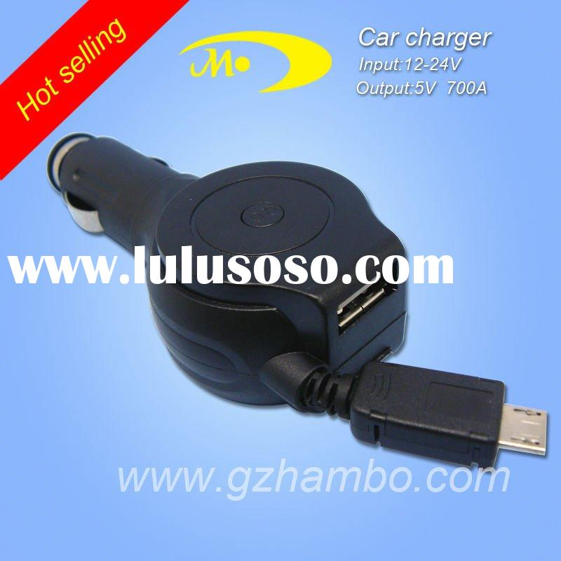 for htc&nokia with retractable micro usb car charger
