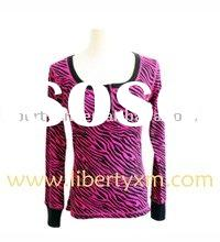 ladies zebra print henley T-shirt