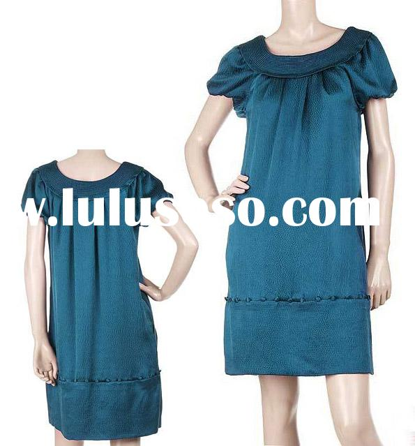 new design dress/blue dress/silk satin dress/lady's dress/party dress/floral dress/silk long