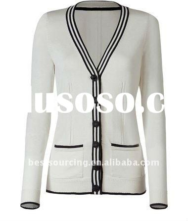 women's spring boyfriend cardigan v neck long sleeve stripe placket lady cashmere sweater wi