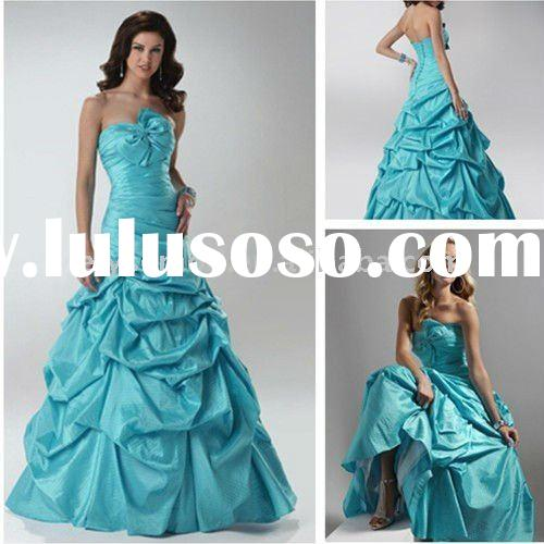 Bright Turquoise Strapless Ball Gown Taffeta Formal Prom Dresses