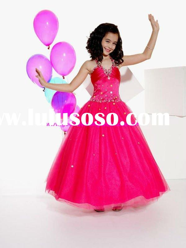 Hotsale 2011 Lastest Design Red Ball Gown Beautiful Flower Girl Dress
