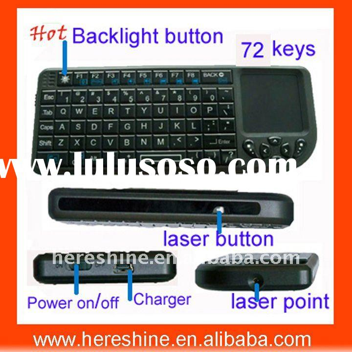 Mini Wireless Bluetooth Keyboard with multi-touchpad,laser pointer and mouse