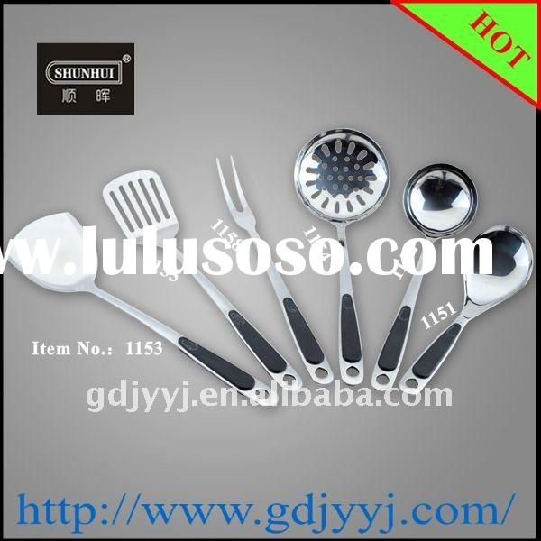 Popular Household Stainless Steel Cooking Utensil set with plastic handle