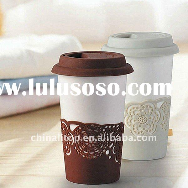 New Style Ceramic Double Wall Eco Thermal Travel Coffee Mug with Silicone Lid & Rose Pattern Sle