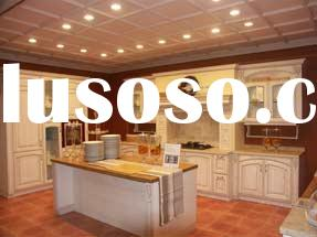 Solid Oak Wood Kitchen Cabinets /Furniture with Granite Countertop and Stainless Steel Sinks