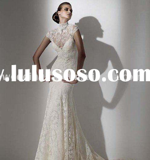 Beautiful Sheath High Collar V Neck Short Sleeves Lace Wedding Dress