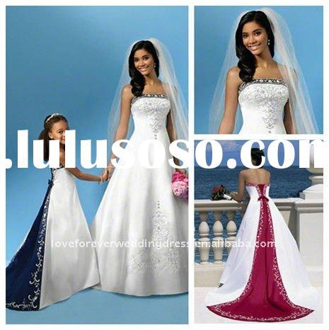 Best Selling Embroidery Royal Blue and White Wedding Dresses